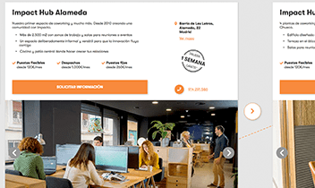 Landing publicitaria Impact Hub. Plataforma Wordpress responsive.