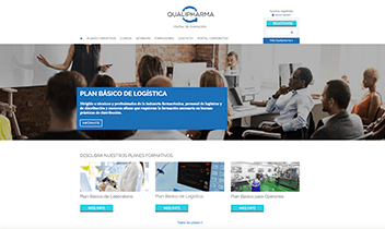 Portal web de formación Qualipharma. Plataforma Wordpress responsive.