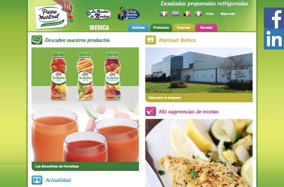 Web corporativa Martinet Ibérica. Plataforma Wordpress responsive.