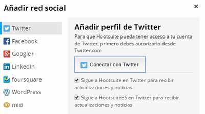 Hootsuite - añadir red social