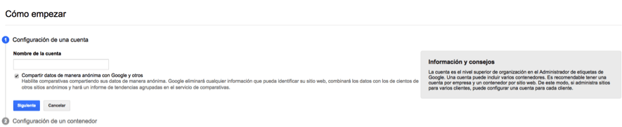 Alta cuenta Google Tag Manager