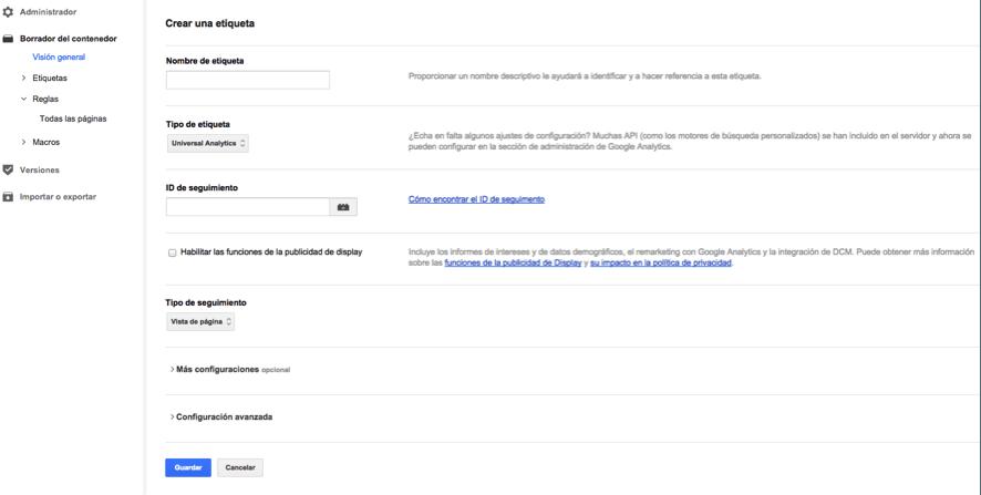 Configurar etiqueta Google Analytics