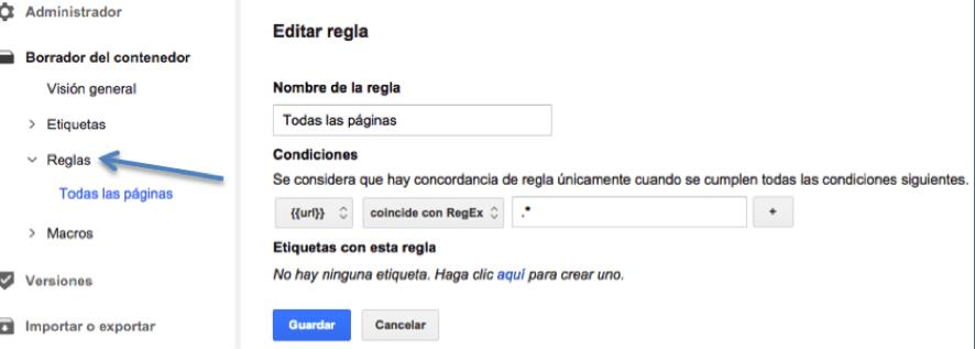 Editar regla etiqueta Google Tag Manager