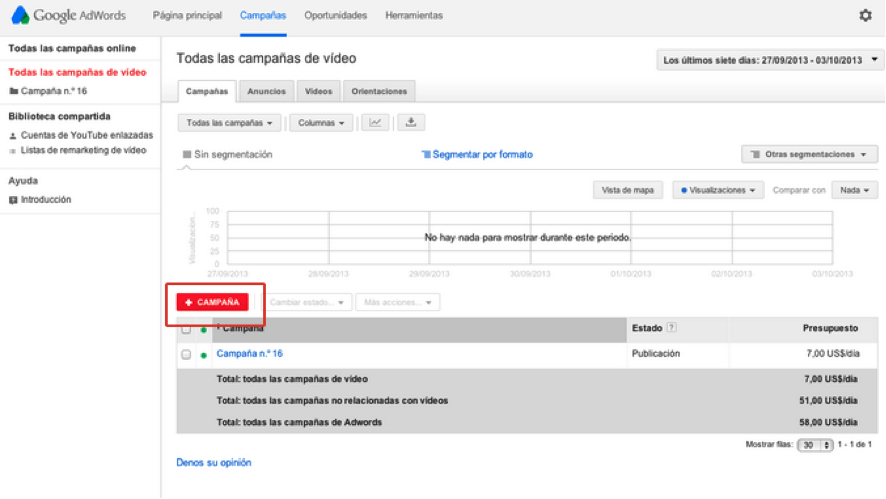 google adwords para videos paso dos configuracion