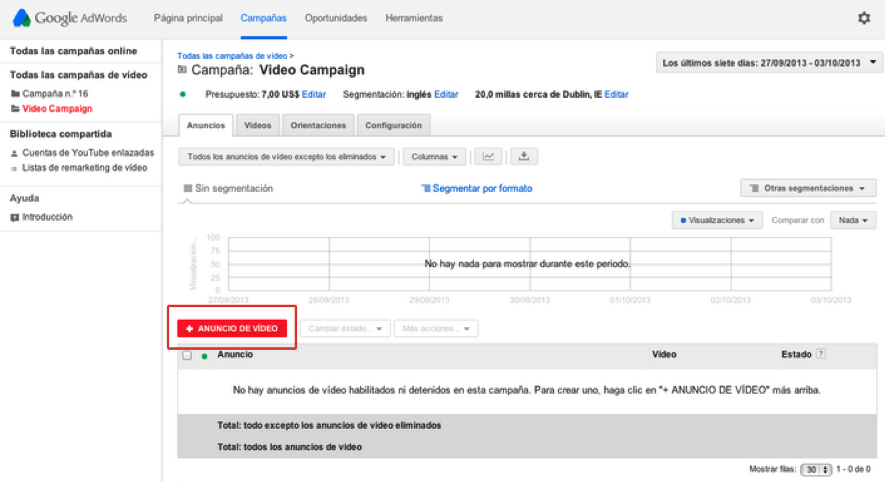 google adwords para videos paso tres