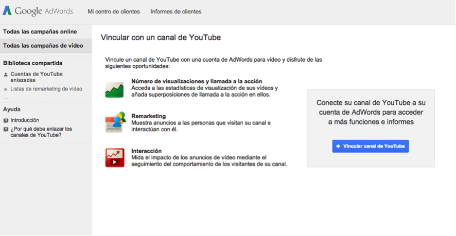 google adwords para videos paso uno