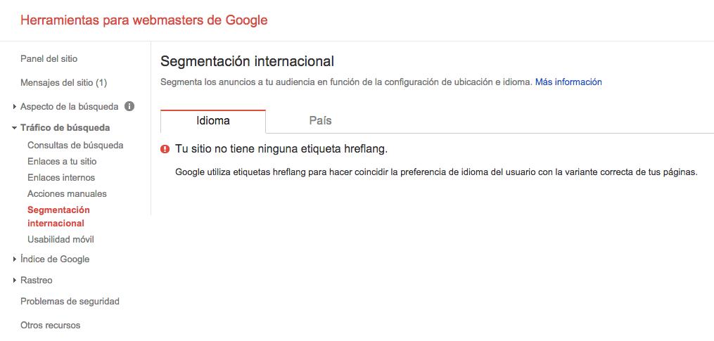 Webmaster Tools Segmentacion Internacional Sin Datos