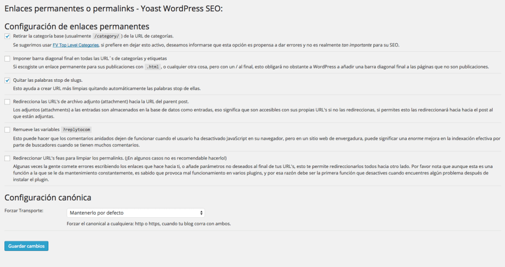 Enlaces permanentes WordPress SEO plugin by Yoast