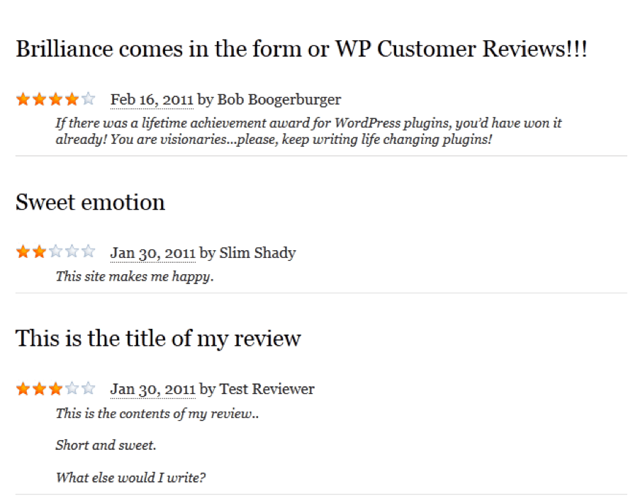 WP Customer Reviews plugin front end