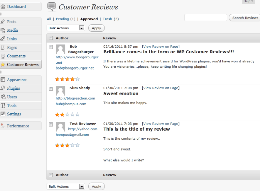 WP Customer Reviews plugin wordpress reviews backend