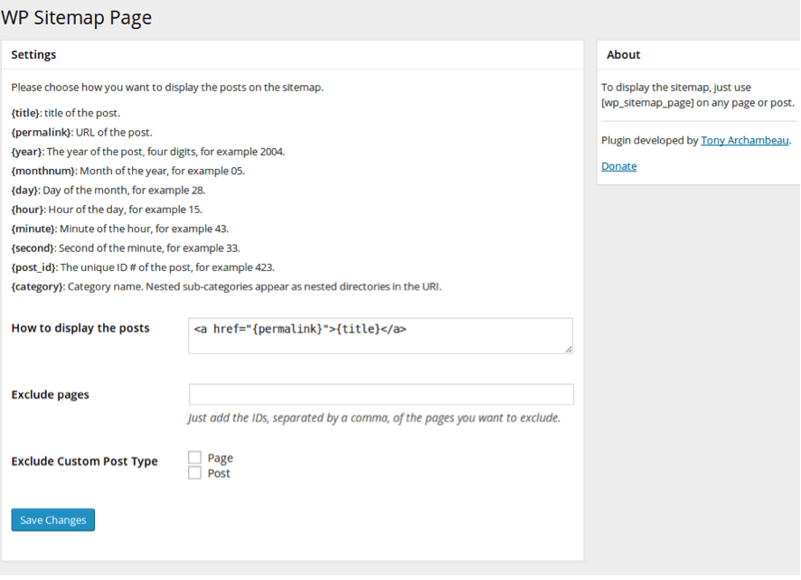 wp sitemap plugin wordpress backend