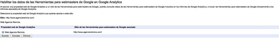 Asociar una cuenta de Analytics con Webmaster Tools paso dos