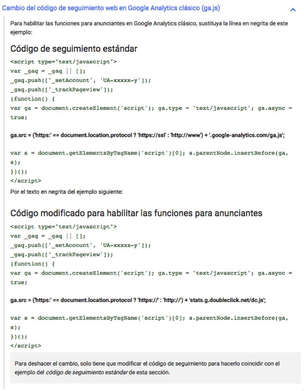 Cambio del código de seguimiento web en Google Analytics clásico (ga.js)