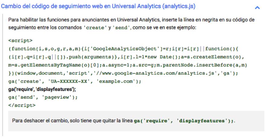 Cambio del código de seguimiento web en Universal Analytics (analytics.js)