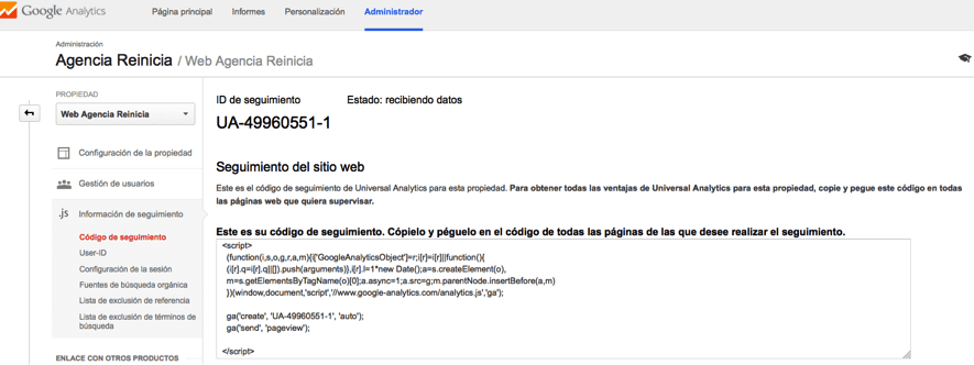 Codigo de seguimiento Google Anlytics