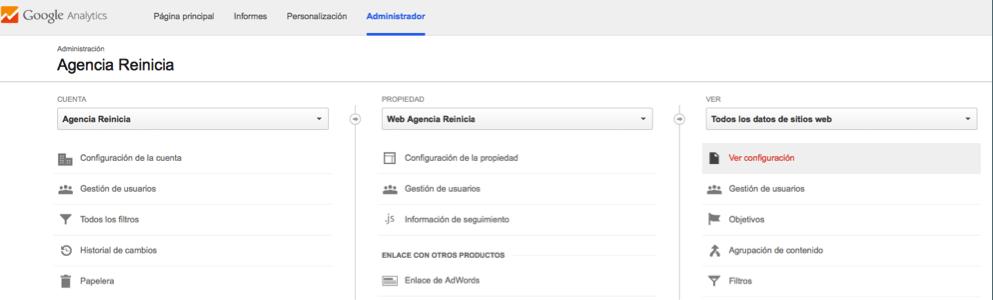 Configuración de búsquedas internas Google Analytics paso uno