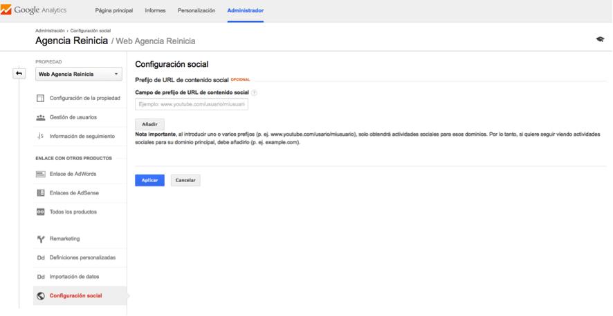 Configuracion social google analytics
