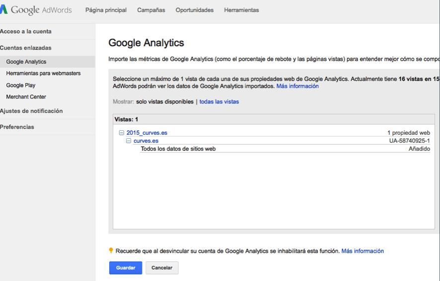 Enlazar cuenta de Google Adwords con Analytics paso cinco