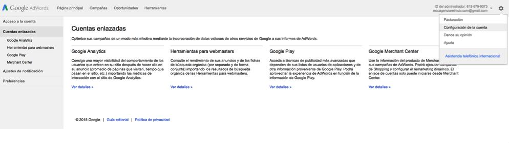 Enlazar cuenta de Google Adwords con Analytics paso cuatro