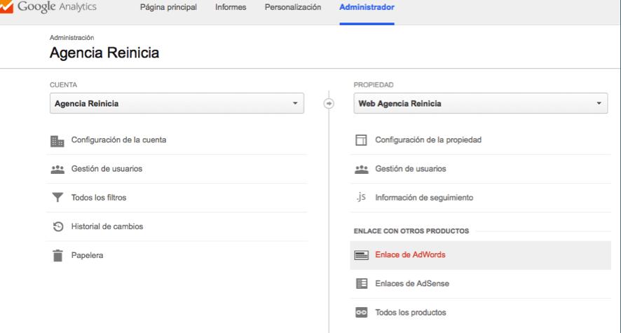 Enlazar cuenta de Google Adwords con Analytics paso dos