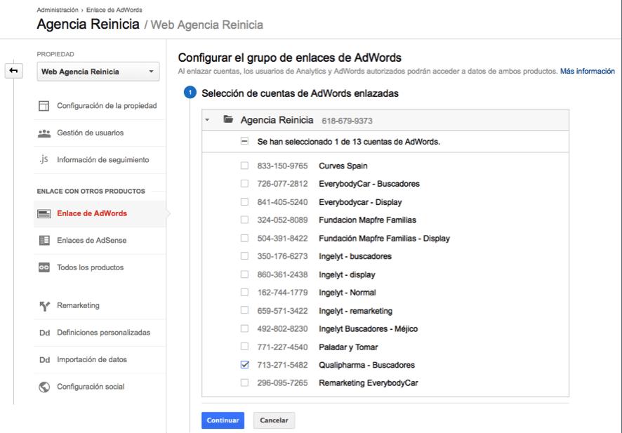 Enlazar cuentas de Google Adwords con Analytics paso tres
