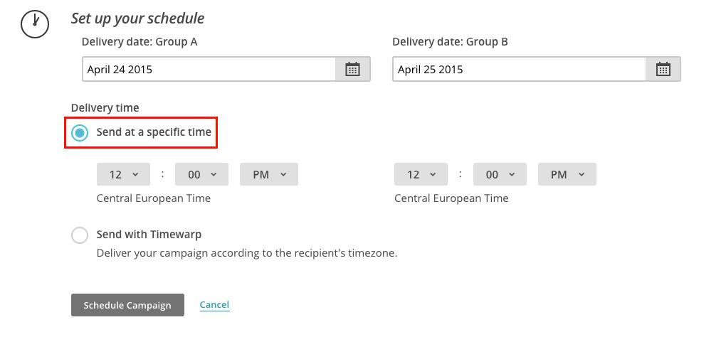 Mailchimp - horario de envio