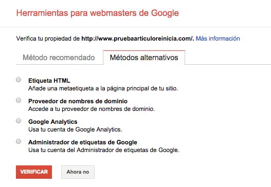 Metodos Validacion Google Webmaster Tools