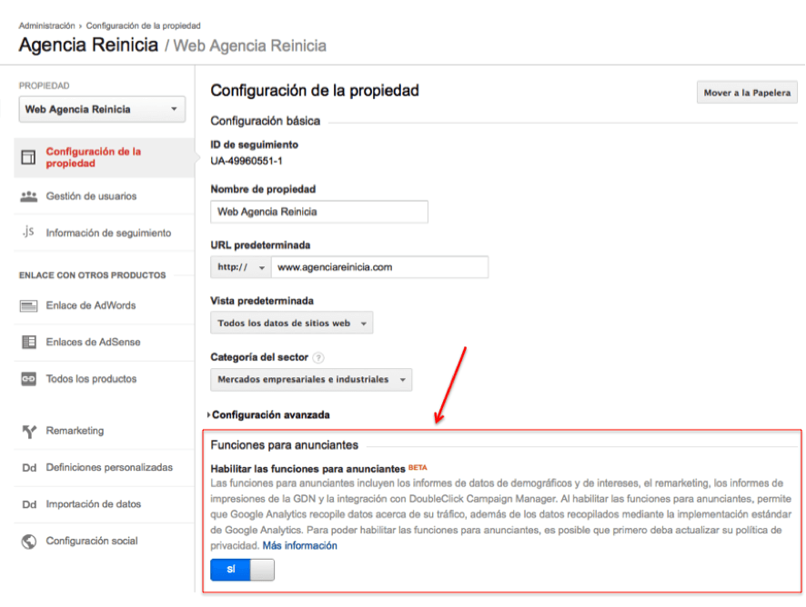 Modificar la configuración de la propiedad google analytics