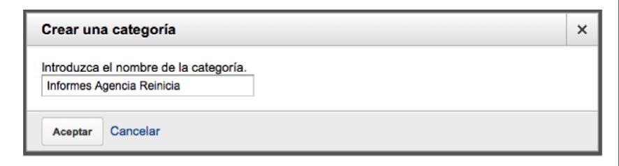 crear una categoría - informe personalizado