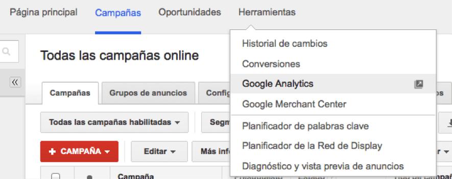 enlazar google adwords con google analytics paso uno