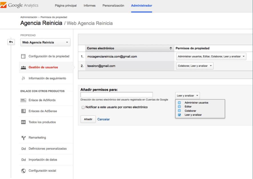 gestion de usuarios google analytics paso dos