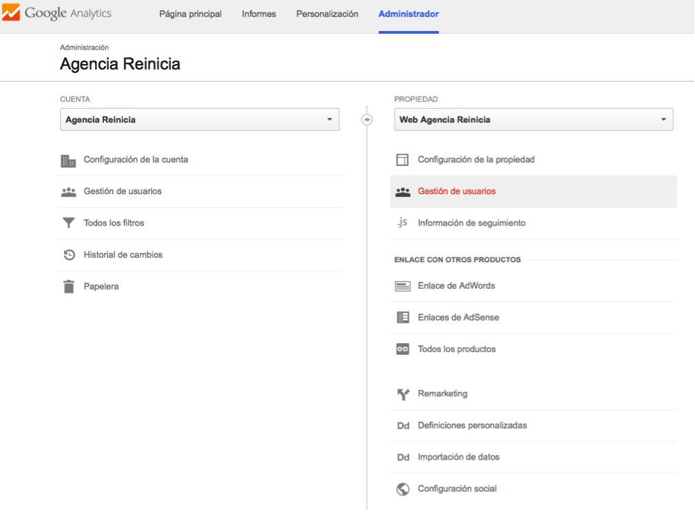 gestion de usuarios google analytics paso uno
