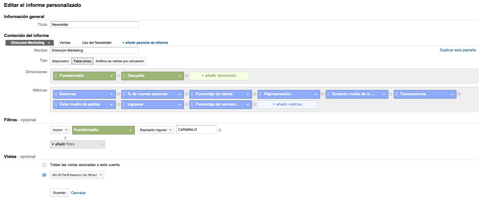 Editor informes personalizados Google Analytics