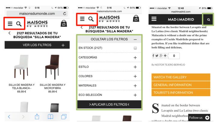 Ejemplo Herramientas Búsqueda - Web Móvil