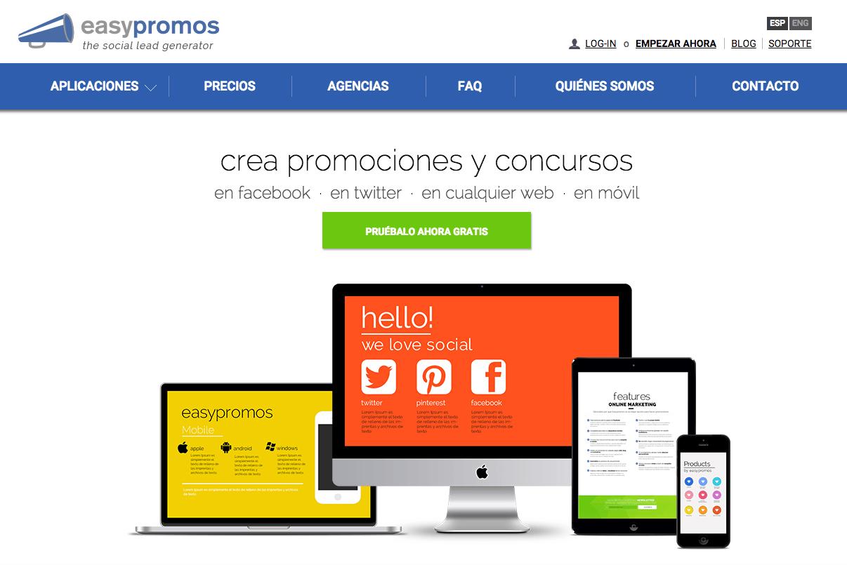 Página principal Easypromos