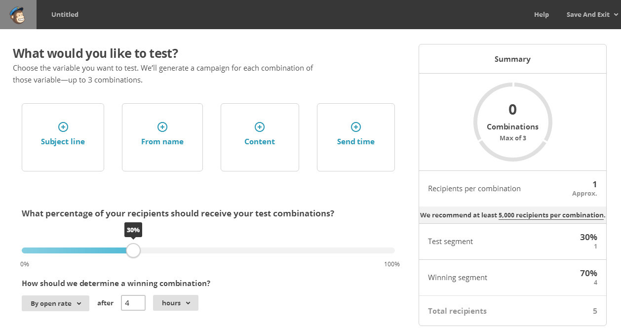 Variables Test A/B Mailchimp