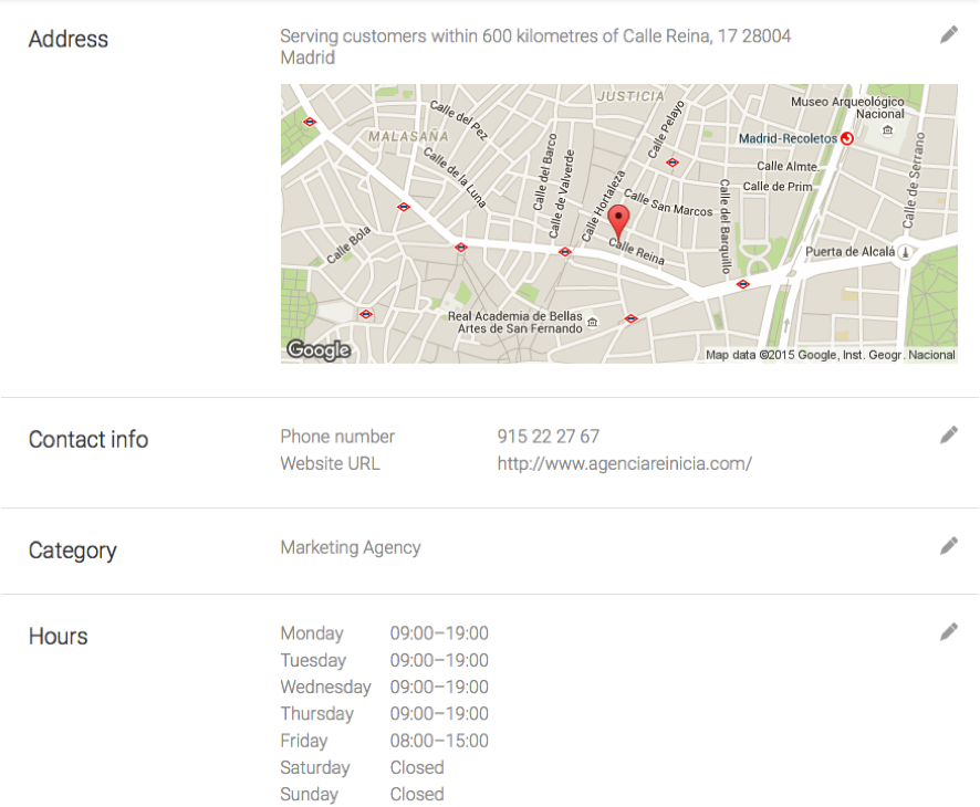 configuracion perfil google my business - horarios