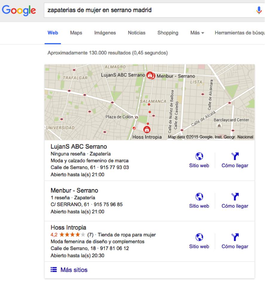 resultados de busqueda de Google My Business