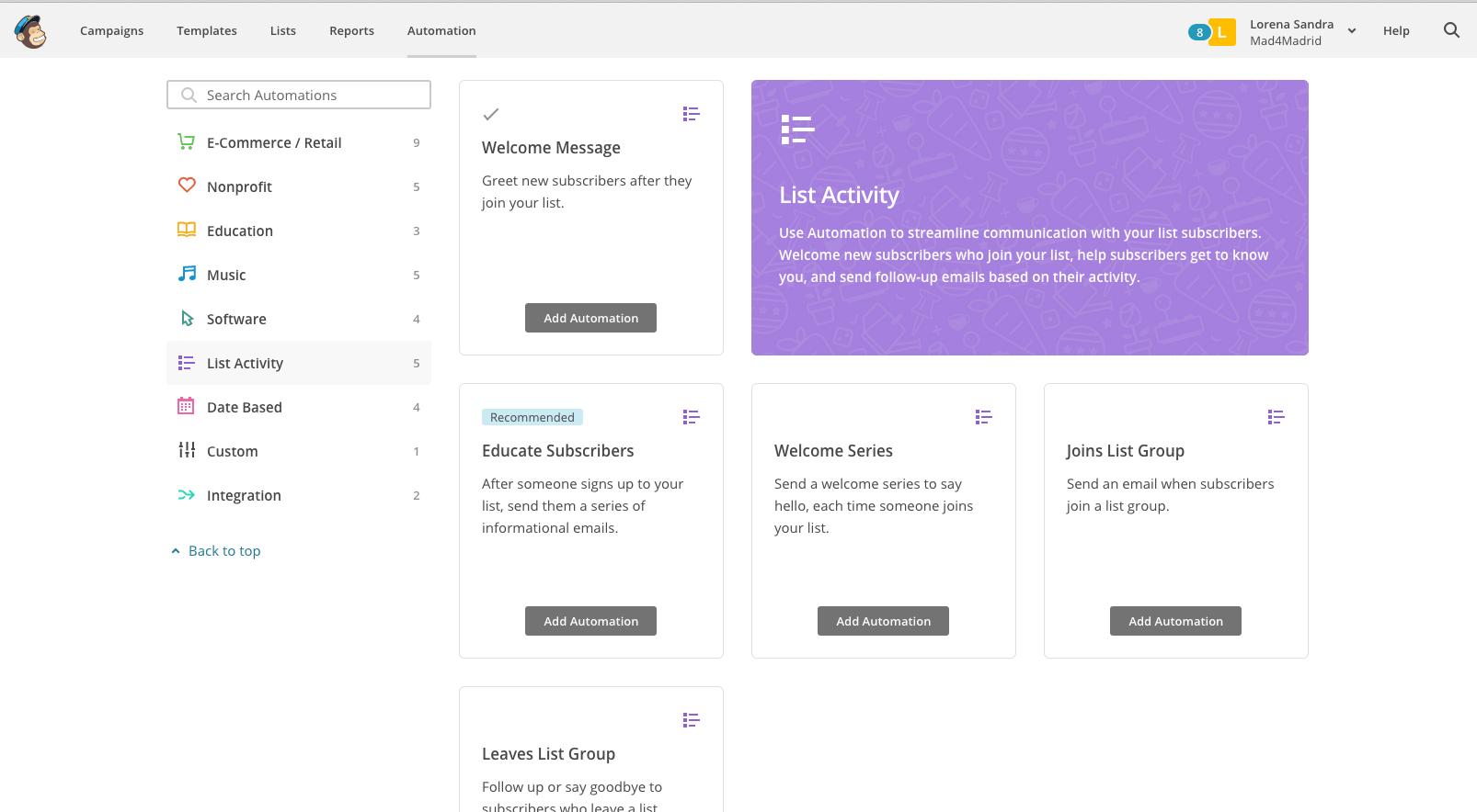 Opciones Automatismo Mailchimp