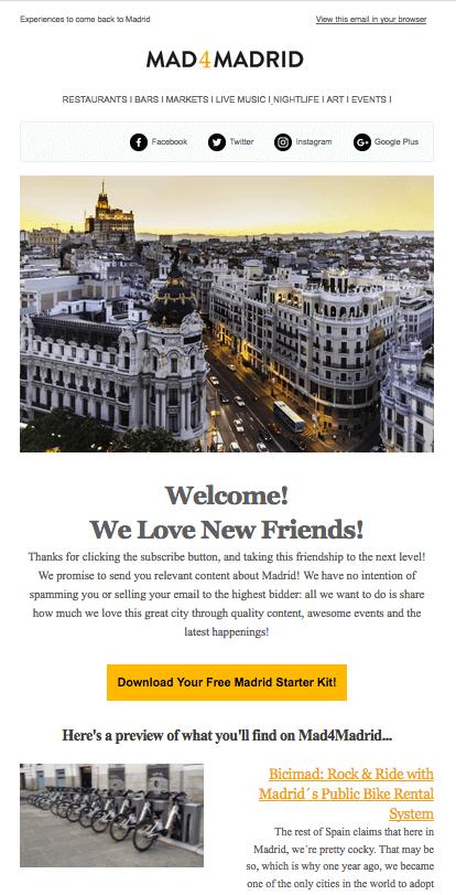 Primer Newsletter del automatismo de bienvenida