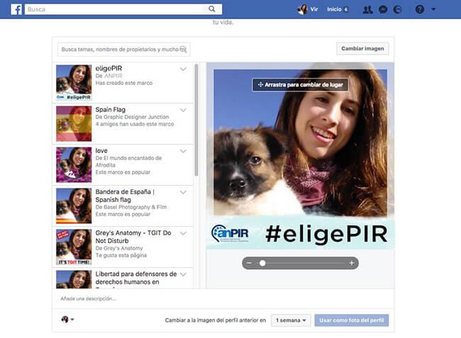 Ejemplo Marco personalizado en Facebook