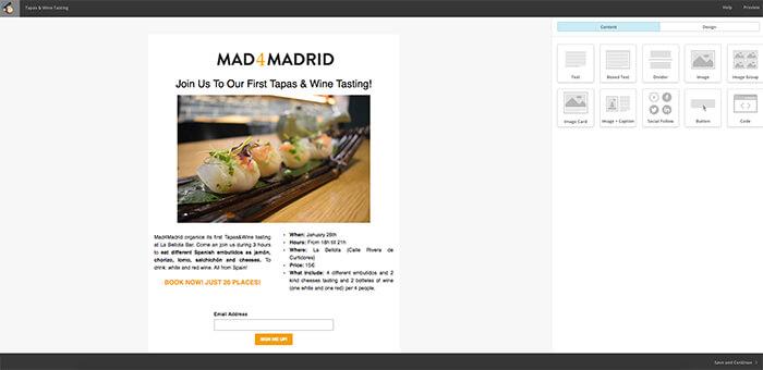 Personalizada - landing page - Mailchimp