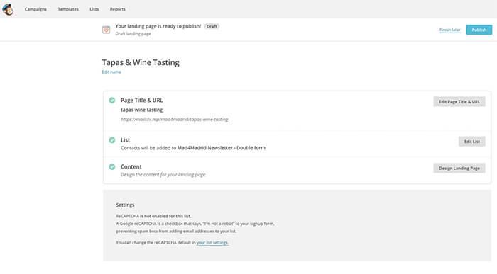Landing page creada - Mailchimp